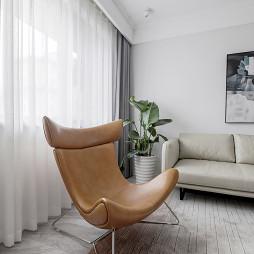 简单北欧风客厅窗帘图片