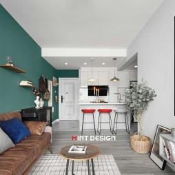 混搭风二居客厅厨房一体设计