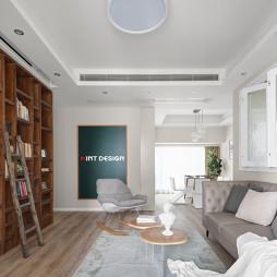 平和简约风客厅书柜设计