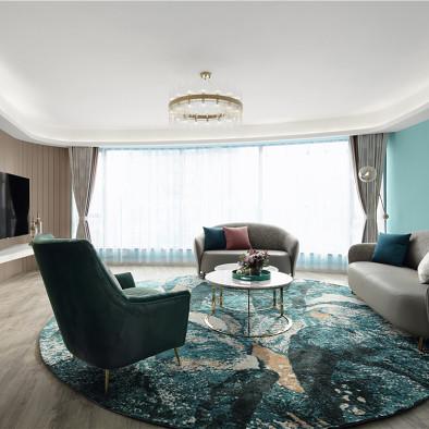 蒂芙尼蓝色现代风客厅实景图