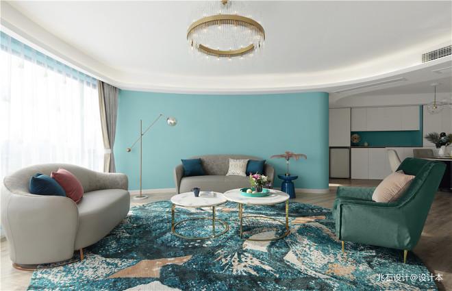 蒂芙尼蓝色现代风客厅沙发图