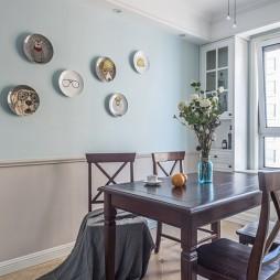 蓝色系美式餐厅背景墙设计