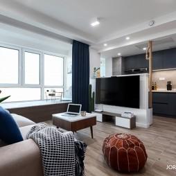 68㎡现代风二居客厅设计图