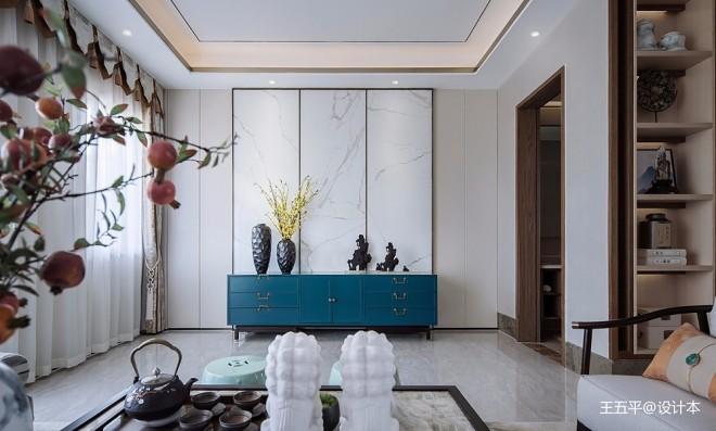 雅奢东方中式客厅无电视背景墙设计