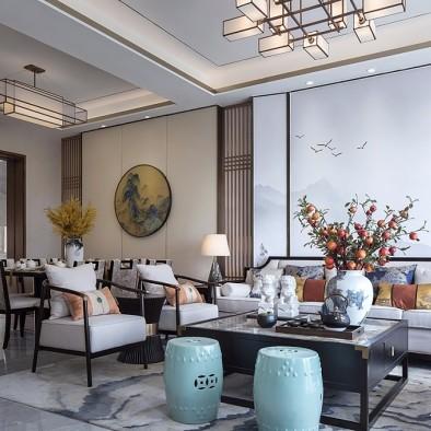 雅奢东方中式客厅实景图