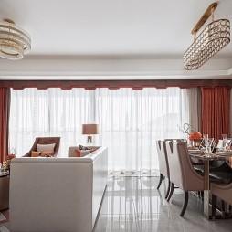 F户型样板房客厅餐厅一体设计