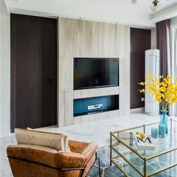 80㎡现代混搭风客厅电视背景墙设计