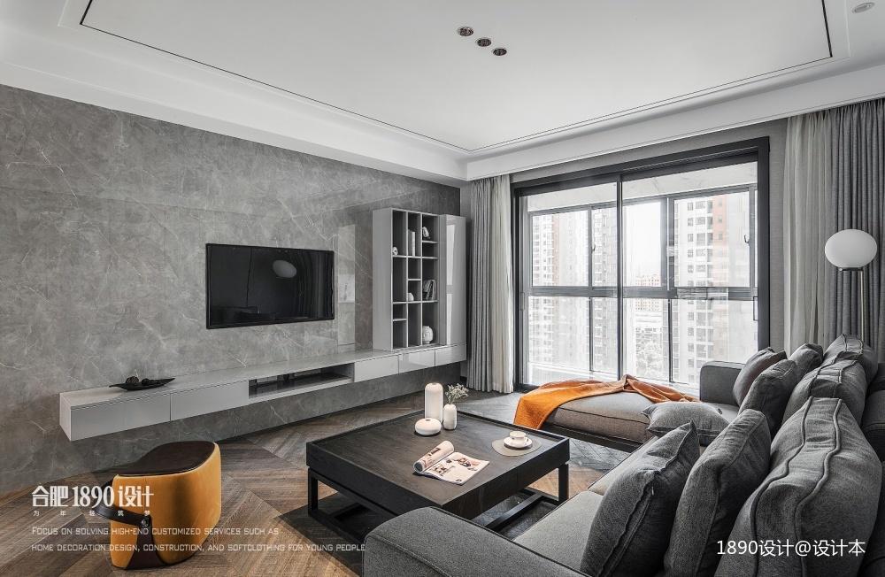 高级灰住宅里的一抹暖意—客厅图片