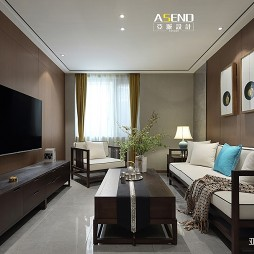 90平米中式现代—客厅图片