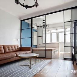 巧用[玻璃隔断]做分区,拯救困难小户型——客厅图片