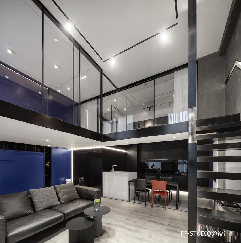 复式—电视隐身、楼梯悬浮——客餐厅图片