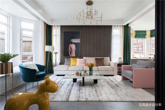 现代轻奢风格,张家口·观澜墅——客厅