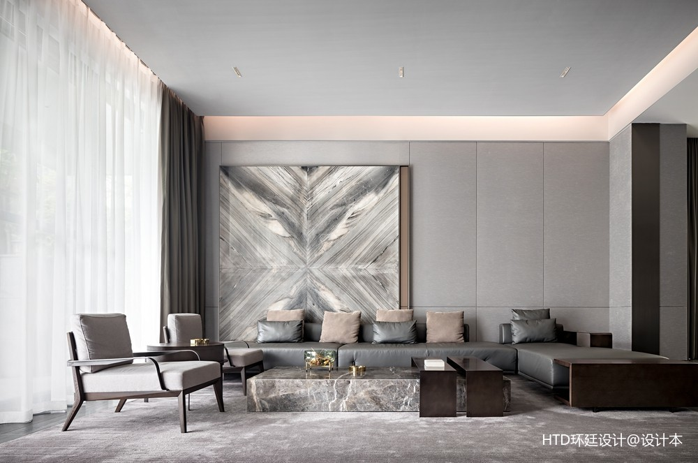 HTD新作   莫兰迪色演绎现代奢华空间——客厅图片