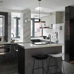 140平米黑白灰,4房改2卧室1书房——厨房图片