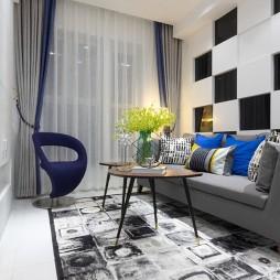 棋盘格的时尚与奢华-客厅图片