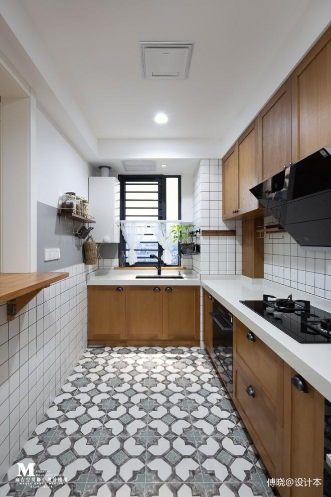 无窗厨房装修效果图_90万元三居110平米装修案例_效果图 - 傅晓设计 | 110㎡三居室中 ...