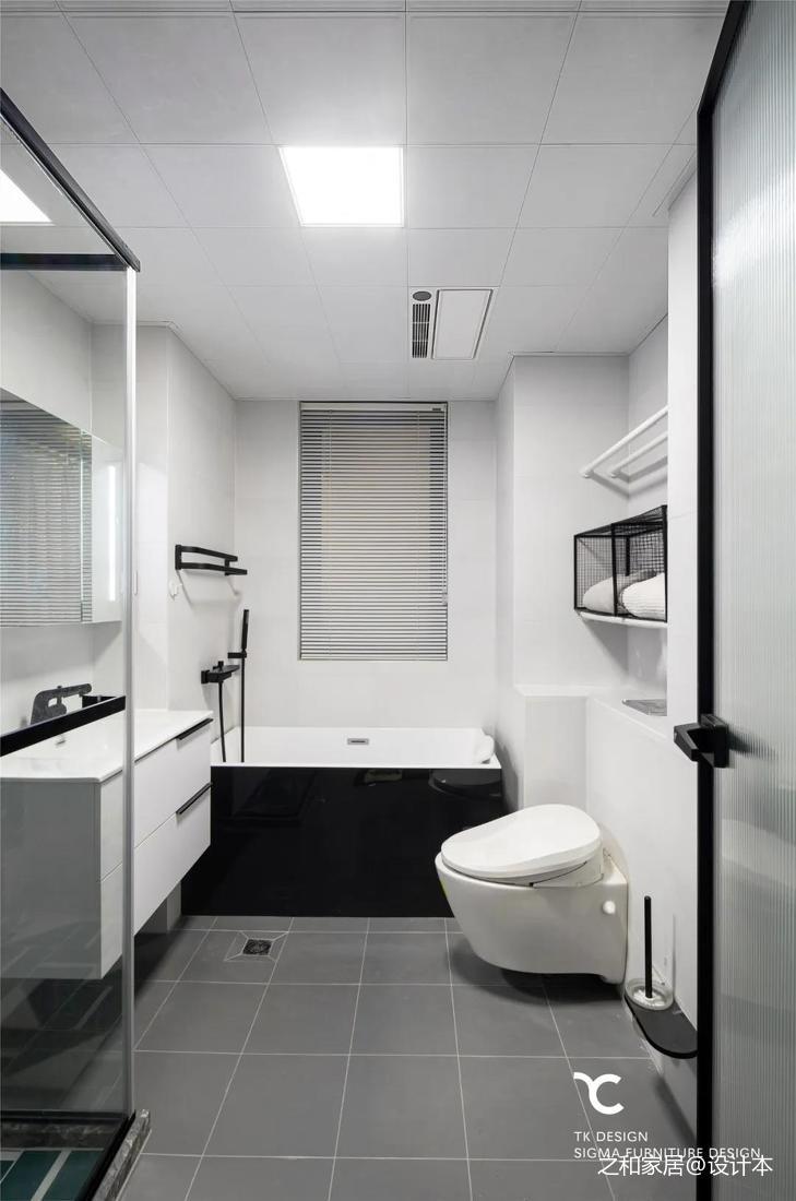 黑白风格卫生间效果图