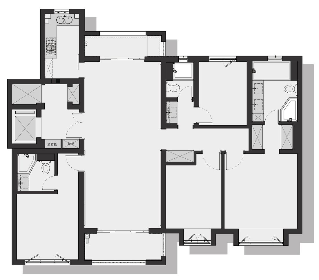 153㎡四室两厅三卫户型图