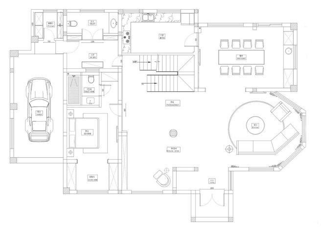 650平米别墅1F设计平面图