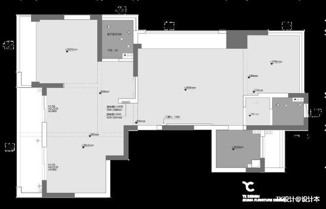 118平米三居室户型图