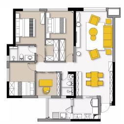四居室两卫户型图