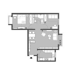 70平米一房户型图