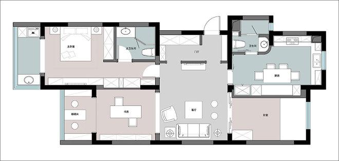 110平米三居室户型图