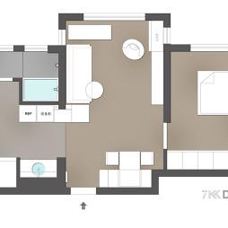 45平米一居室户型图