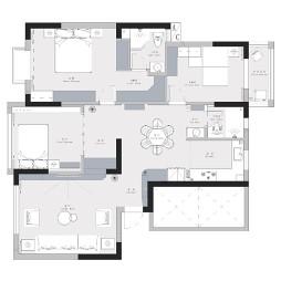 147平米三室两厅户型图