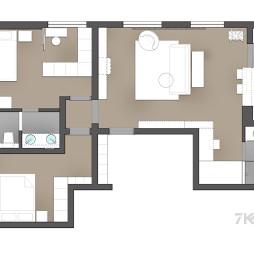 90平米三居室户型图