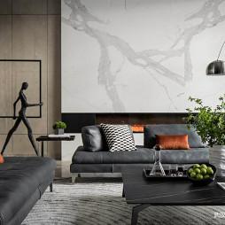 新中式客厅大理石电视墙