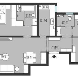 两房两卫户型图
