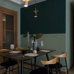 墨绿色餐厅一体效果图