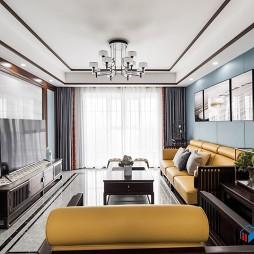 新中式客厅电视墙效果图