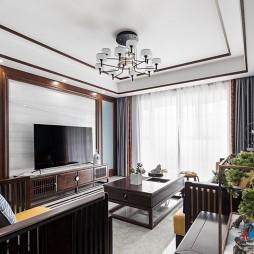 新中式电视背景墙装修图片