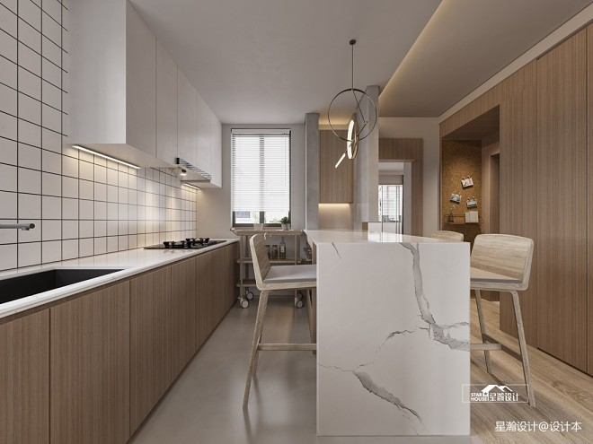 日式开放式厨房装修图片