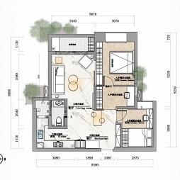 80平米二居室户型图