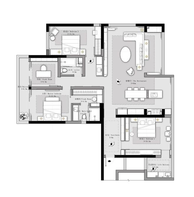 166m2平层,客餐厅打通,空间放大