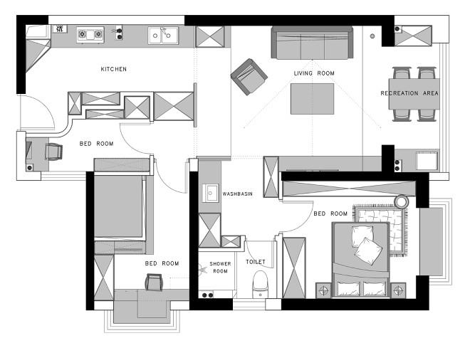 大大的小屋 70m2极限改造 两房改