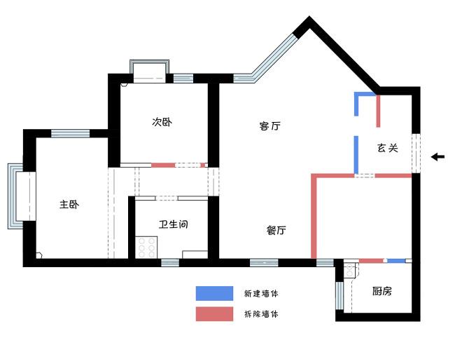 60㎡侘寂风的家,用洄游动线化解异形
