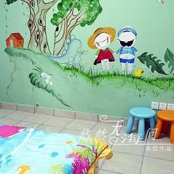 2017地中海风格儿童房手绘墙图案装修效果图片