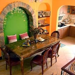 混搭风格家庭卡座餐厅置物架厨房隔断墙装修效果图