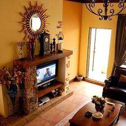 家装美式田园风格客厅壁炉造型装修效果图