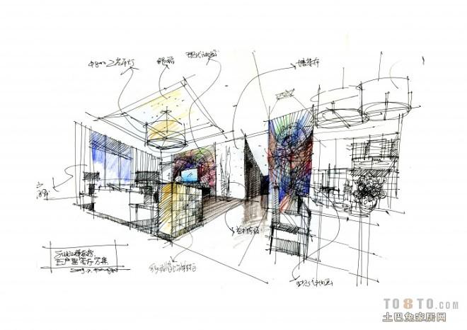 E户型样板房客厅效果图