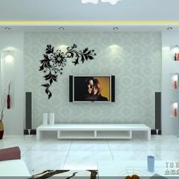 混搭客厅灰电视景带墙贴装修效果图
