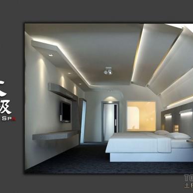 482F-3F套房超现代卧室正视角度