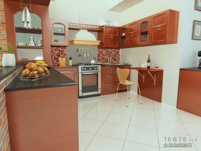 石家庄整体厨房_简欧厨房实木整体橱柜效果图 – 设计本装修效果图