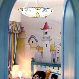 地中海风格复式楼最新双人儿童房手绘背景墙装修效果图片