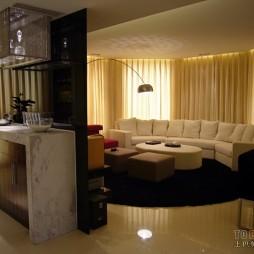 三居室混搭风格异形客厅玄关隔断墙装修效果图