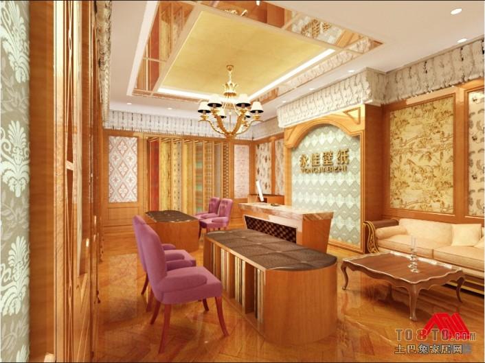 客厅墙纸设计效果图_壁纸店面展厅装修效果图 – 设计本装修效果图